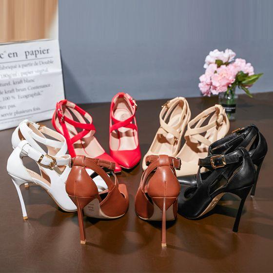 Hermoso Rojo Noche Zapatos De Mujer 2019 Correa Del Tobillo 10 cm Stilettos / Tacones De Aguja Punta Estrecha High Heels