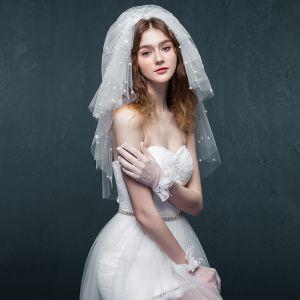 Elegant 2017 1 m White Appliques Pearl Tulle Lace Wedding Veils
