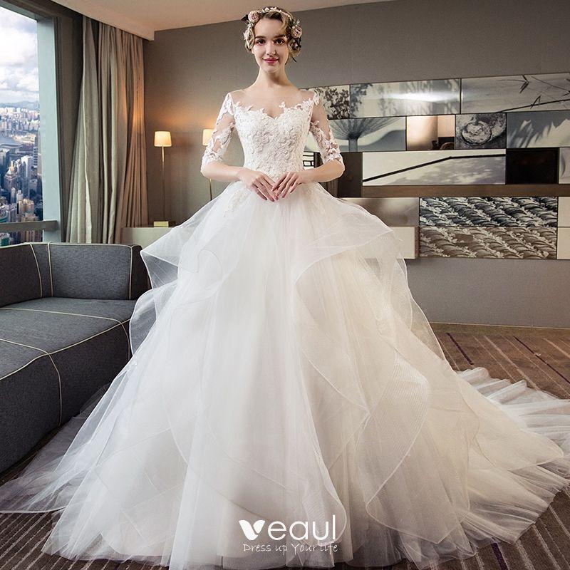56521f67d2 Hermoso Marfil Traspasado Vestidos De Novia 2018 Ball Gown Scoop Escote 1 2  Ærmer Sin Espalda Apliques Con Encaje ...