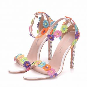 Amazing / Unique Multi-Colors Outdoor / Garden Womens Shoes 2018 Lace Flower Ankle Strap 6 cm Stiletto Heels Open / Peep Toe High Heels