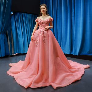 Fabulous Pearl Pink Prom Dresses 2019 Ball Gown Off-The-Shoulder Short Sleeve Appliques Flower Rhinestone Court Train Ruffle Backless Formal Dresses