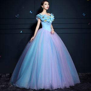 Cinderella Pool Blue Ball Gown Prom Dresses 2017 Tulle U-Neck Lilac Butterfly Backless Prom Formal Dresses
