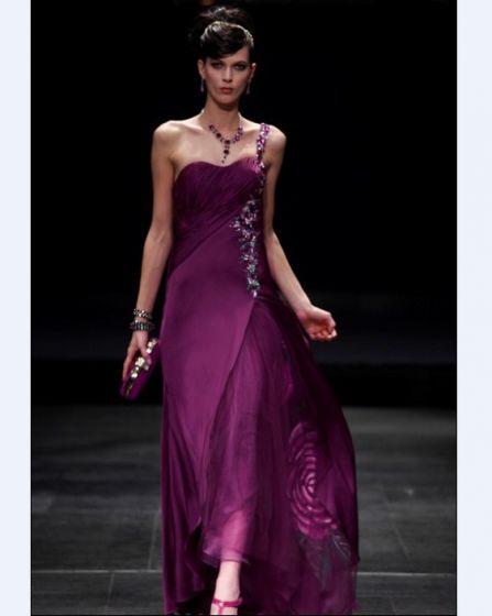 One Shoulder Floor-length Silk Imitation Yarn Cocktail Dress