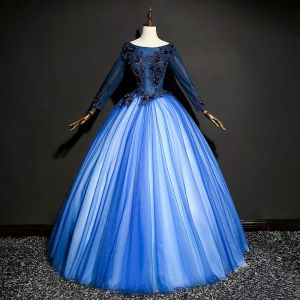 Schöne Königliches Blau Ballkleider 2017 Tülle Perlenstickerei Applikationen Ballkleid Ball Rückenfreies Festliche Kleider