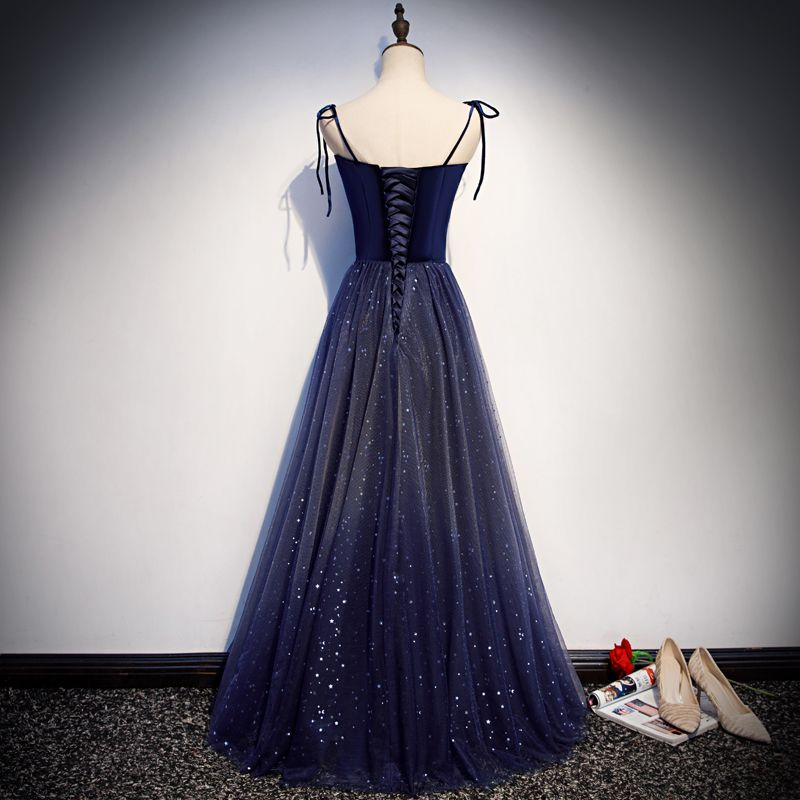 Starry Sky Navy Blue Suede Evening Dresses  2019 A-Line / Princess Spaghetti Straps Sleeveless Glitter Sequins Floor-Length / Long Ruffle Backless Formal Dresses