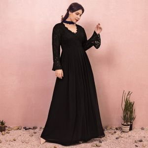 Amazing / Unique Black Plus Size Evening Dresses  2018 A-Line / Princess Long Sleeve Tulle V-Neck Lace-up Backless Evening Party Prom Dresses