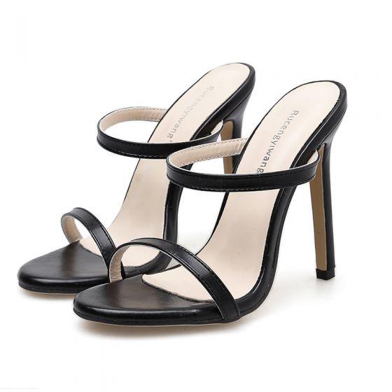 Minimalistisk   Svart Aften Sandaler Dame 2020 12 cm Stiletthæler Peep Toe Sandaler
