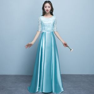 Chic / Beautiful Jade Green Bridesmaid Dresses 2018 A-Line / Princess Scoop Neck 1/2 Sleeves Sash Sequins Floor-Length / Long Ruffle Backless Wedding Party Dresses