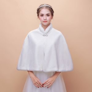 White Winter High Neck Faux Fur Wedding Prom Coats / Jackets 2017