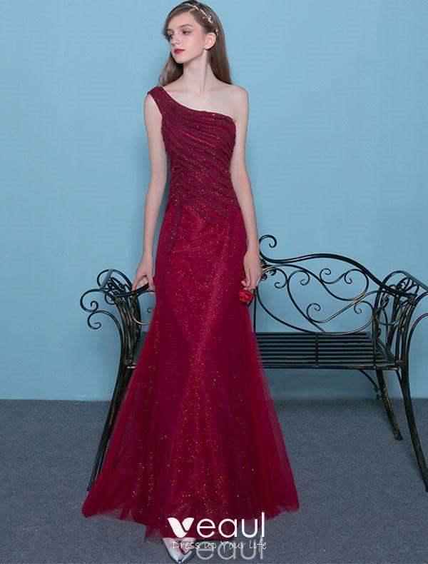 Sexy Sequin Evening Dress 2017 One Shoulder Long Formal Dress Backless