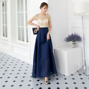 Chic / Beautiful Navy Blue Evening Dresses  2018 A-Line / Princess Sequins Scoop Neck Short Sleeve Ankle Length Formal Dresses