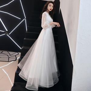 Elegant White Evening Dresses  2019 A-Line / Princess V-Neck Sequins Lace Flower 3/4 Sleeve Floor-Length / Long Formal Dresses