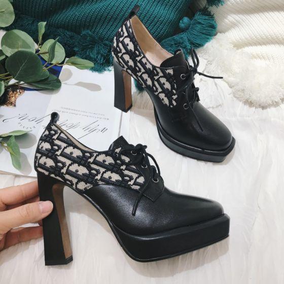 Schöne Schwarz Strassenmode Schnüren Ankle Boots Stiefel Damen 2021 Leder 10 cm Thick Heels Runde Zeh Stiefel Hochhackige