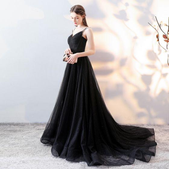 Eleganckie Czarne Sukienki Wieczorowe 2018 Princessa Spaghetti Pasy Bez Pleców Bez Rękawów Trenem Sąd Sukienki Wizytowe