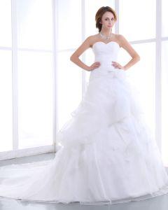 Elegant Mermaid Axelbandslos Organza Satin A-linje Brudklänningar Bröllopsklänningar
