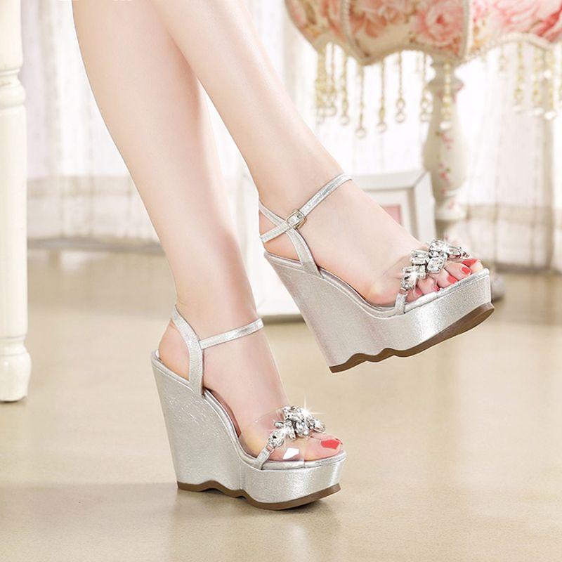 Sparkly Outdoor / Garden Womens Sandals 2017 PU Buckle Rhinestone Wedges Open / Peep Toe Sandals