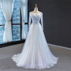 High-end White Sky Blue See-through Evening Dresses  2020 A-Line / Princess Square Neckline Long Sleeve Beading Sweep Train Backless Formal Dresses