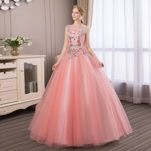 Affordable Candy Pink Prom Dresses 2018 Ball Gown Lace Flower Rhinestone Scoop Neck Sleeveless Backless Floor-Length / Long Formal Dresses