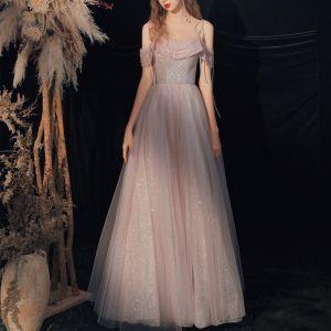 Charmant Rougissant Rose Glitter Robe De Bal 2020 Princesse Bretelles Spaghetti Perlage Paillettes Sans Manches Dos Nu Longue Robe De Ceremonie