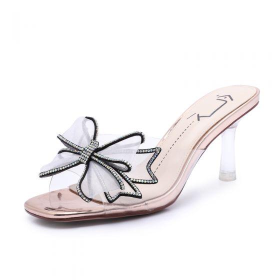 Mode Champagne Vêtement de rue Sandales Femme 2020 Faux Diamant Noeud 7 cm Talons Aiguilles Peep Toes / Bout Ouvert Sandales
