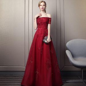Elegant Burgundy Evening Dresses  2018 A-Line / Princess Off-The-Shoulder Short Sleeve Beading Sequins Sash Chapel Train Ruffle Backless Formal Dresses