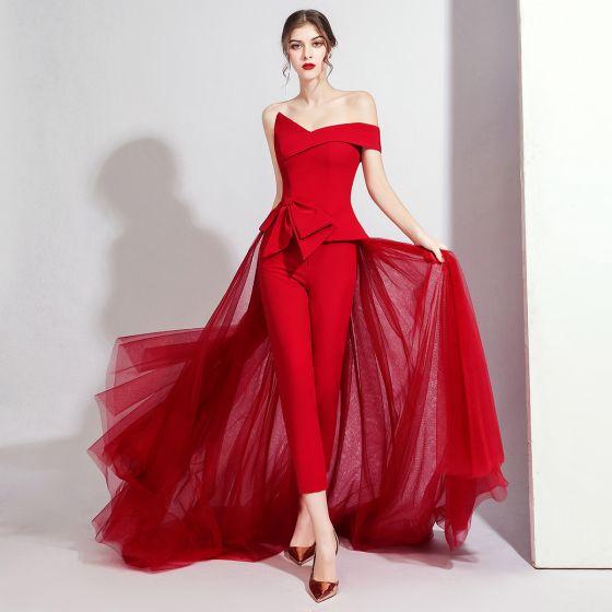 Moda Burgund Kombinezon 2020 Przy Ramieniu Kótkie Rękawy Kokarda Trenem Sweep Bez Pleców Sukienki Wieczorowe