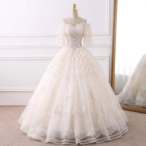Elegant Champagne Wedding Dresses 2018 Ball Gown Off-The-Shoulder 1/2 Sleeves Backless Appliques Lace Beading Pearl Tassel Ruffle Floor-Length / Long