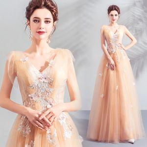 Élégant Champagne Robe De Bal 2019 Princesse V-Cou Appliques En Dentelle Fleur Perlage Paillettes Sans Manches Dos Nu Longue Robe De Ceremonie