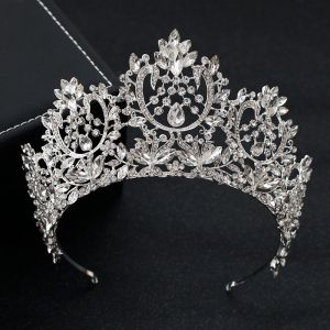 Vintage / Retro Silver Rhinestone Tiara Wedding Accessories 2019 Bridal Hair Accessories