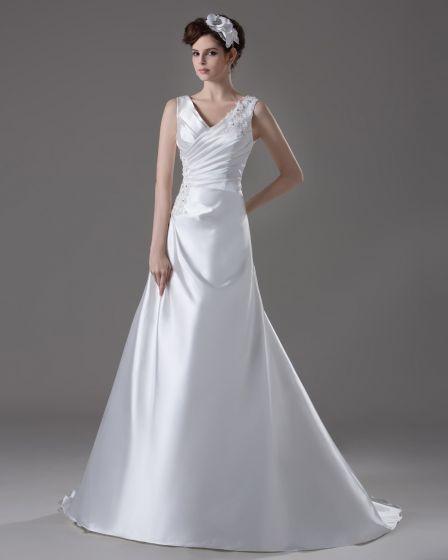 V Neckline Floor Length Pleated Beading Flower Satin A Line Wedding Dress