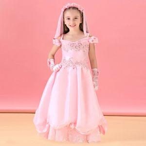 Lange Roze Bloem Meisje Jurk Prinses Jurk
