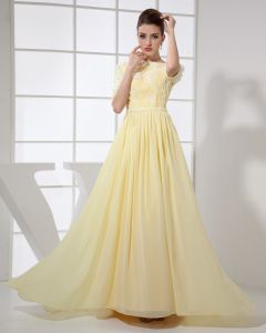 Jewel Short sleeve Backless Floor Length Applique Chiffon Silk Woman Evening Dress