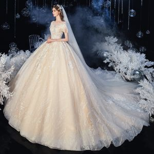 Chic / Beautiful Champagne Bridal Wedding Dresses 2020 Ball Gown See-through Scoop Neck Short Sleeve Backless Appliques Lace Beading Glitter Tulle Cathedral Train Ruffle