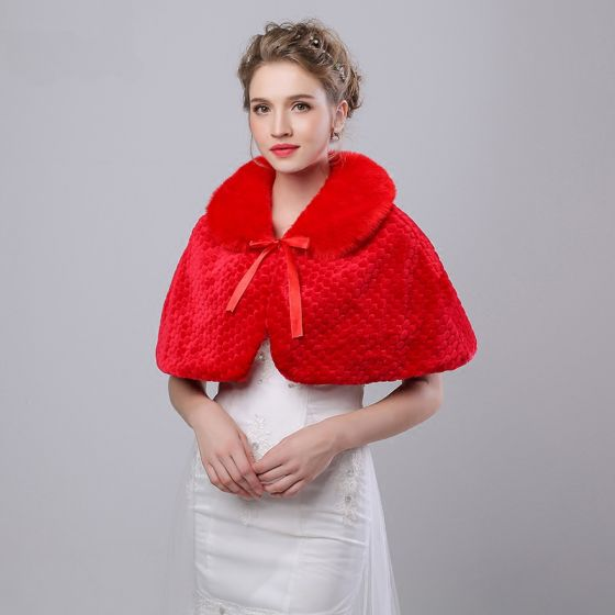 Red Winter Snakeskin Print Faux Fur Evening Party Prom Wedding Shawls 2017