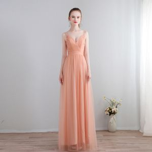 Simple Lilas Robe De Soirée 2018 Lacer Chiffon Dos Nu Robe De Ceremonie