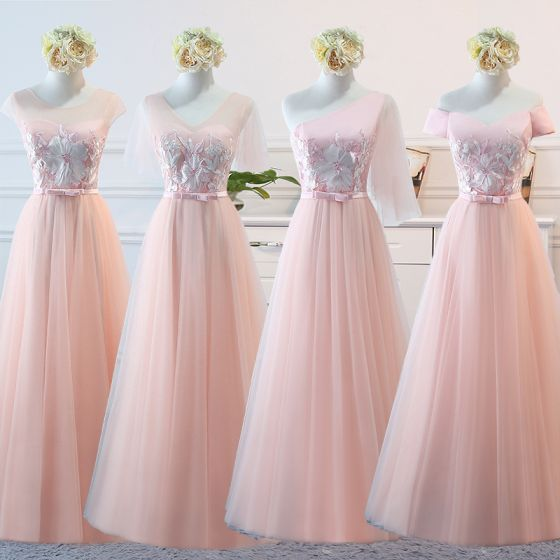 Chic / Beautiful Pearl Pink Bridesmaid Dresses 2018 A-Line / Princess Appliques Lace Bow Sash Floor-Length / Long Ruffle Backless Wedding Party Dresses