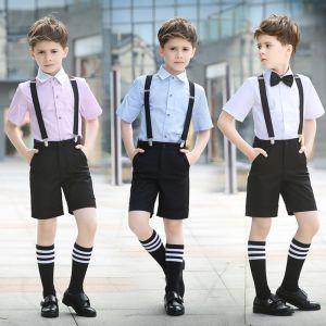 Eenvoudige Korte Mouwen Overhemd Zwarte Das Zomer Boys Wedding Suits 2018