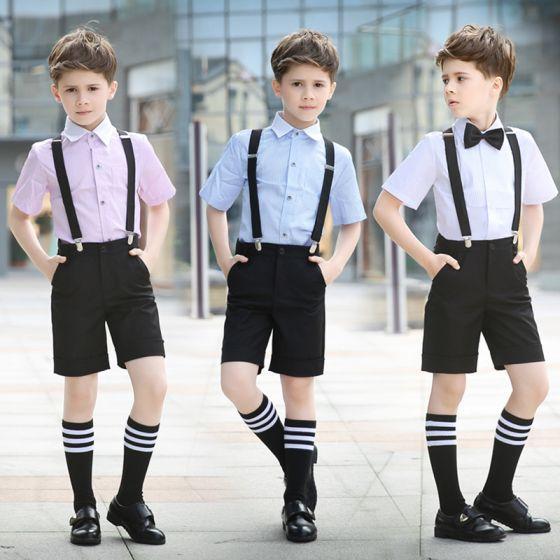 Zomer Overhemd.Eenvoudige Korte Mouwen Overhemd Zwarte Das Zomer Boys Wedding Suits