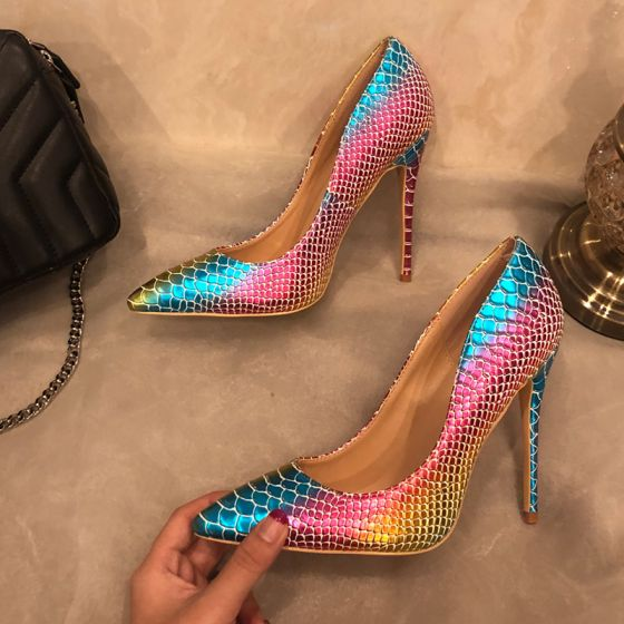 Amazing / Unique Multi-Colors Evening Party Pumps 2019 Snakeskin Print 12 cm Stiletto Heels Pointed Toe Pumps
