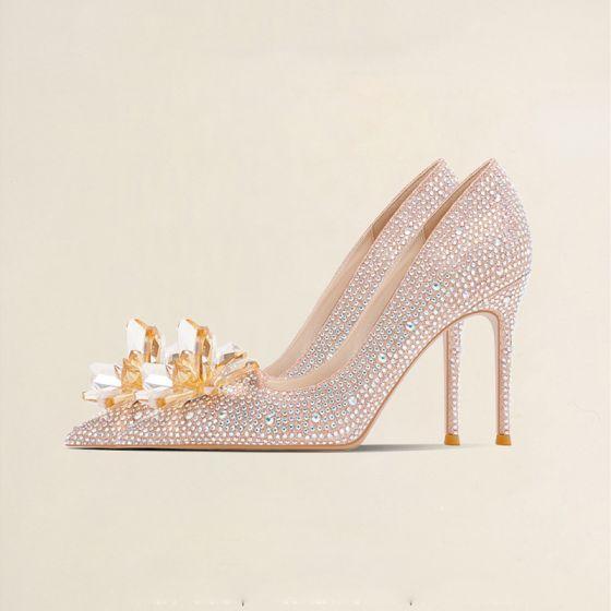 Scintillantes Cendrillon Champagne Cristal Chaussure De Mariée 2021 10 cm / 4 inch Faux Diamant Talons Hauts À Bout Pointu Talons Aiguilles Escarpins