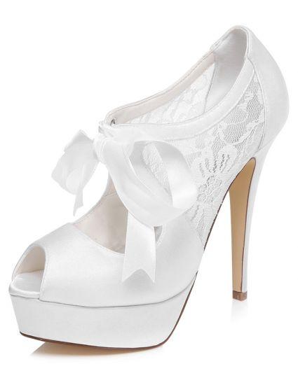 Belles Chaussures De Mariée  De Mariage Dentelle Escarpin Peep Toe Haute Talon Aiguilles Plateforme