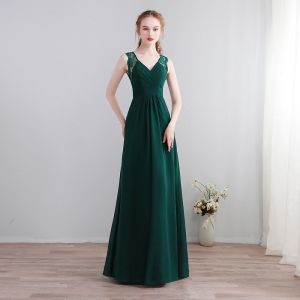 Modest / Simple Dark Green Floor-Length / Long Evening Dresses  2018 A-Line / Princess V-Neck Chiffon Lace-up Backless Evening Party Formal Dresses