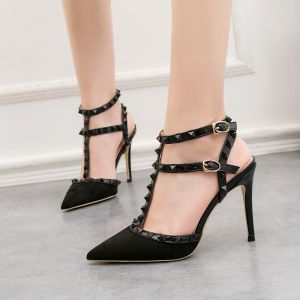 Fashion Black Evening Party Rivet Womens Sandals 2020 T-Strap 10 cm Stiletto Heels Pointed Toe Sandals