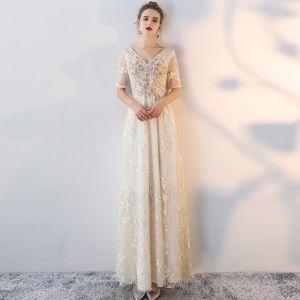 Chic / Belle Champagne Robe De Soirée 2017 Princesse Dentelle V-Cou Appliques Dos Nu Paillettes Soirée Robe De Ceremonie