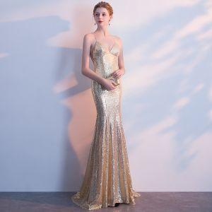 Glitzernden Gold Abendkleider 2018 Mermaid Pailletten Spaghettiträger Rückenfreies Ärmellos Sweep / Pinsel Zug Festliche Kleider