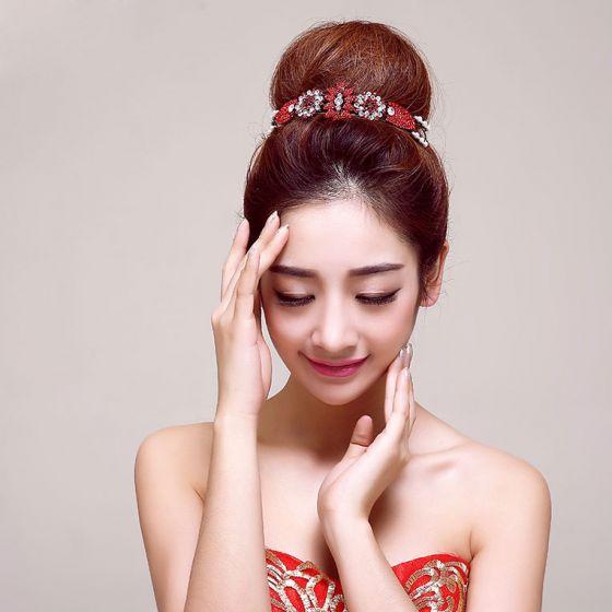 Red Diamond Bridal Headpiece / Head Flower / Wedding Hair Accessories / Wedding Jewelry