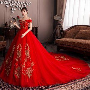 Chinesischer Stil Rot Schwangere Brautkleider / Hochzeitskleider 2019 Off Shoulder Pailletten Spitze Blumen Applikationen Kurze Ärmel Rückenfreies Kapelle-Schleppe