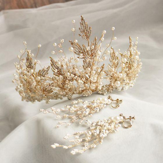Charmant Goud Tiara Oorbellen Bruidssieraden 2020 Legering Kralen Rhinestone Huwelijk Accessoires