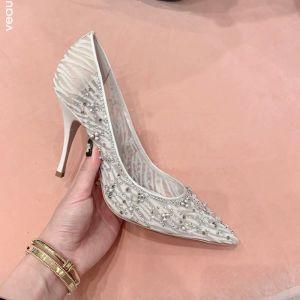 Chic / Beautiful Ivory Wedding Shoes 2020 Pearl Rhinestone 8 cm Stiletto Heels Pointed Toe Pumps