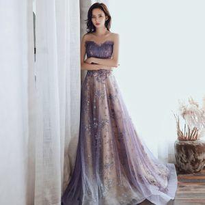 Charmant Violet Glitter Robe De Soirée 2020 Princesse Bustier Perlage Paillettes En Dentelle Fleur Sans Manches Dos Nu Train De Balayage Robe De Ceremonie
